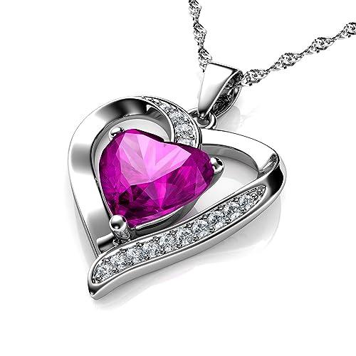 c079b07d4ff4 DEPHINI - Collar con colgante de corazón de plata de ley 925 con circonita  blanca y piedra natal rosa adornada con cristal de Swarovski para mujer