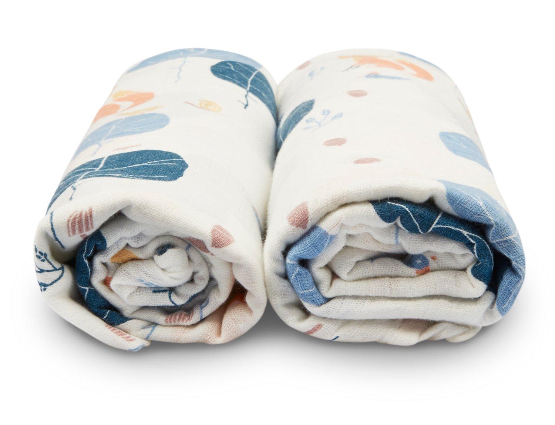 Manta Suave de Muselina Orgánica con Babero Gratis Que Combina, Ideal para Recién Nacidos y Bebés mayores, fabricada por Sabai Sabai.