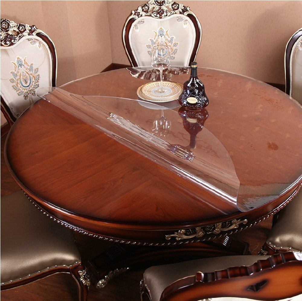 Round Table Protector Furniture Clear Plastic Protector Circle Tablecloth Cloths Cover PVC Vinyl Waterproof Wipeable Heat Resistant Pad Mats Rug for Dining Table Top Desktop Mat Pad 32 Inch Diameter