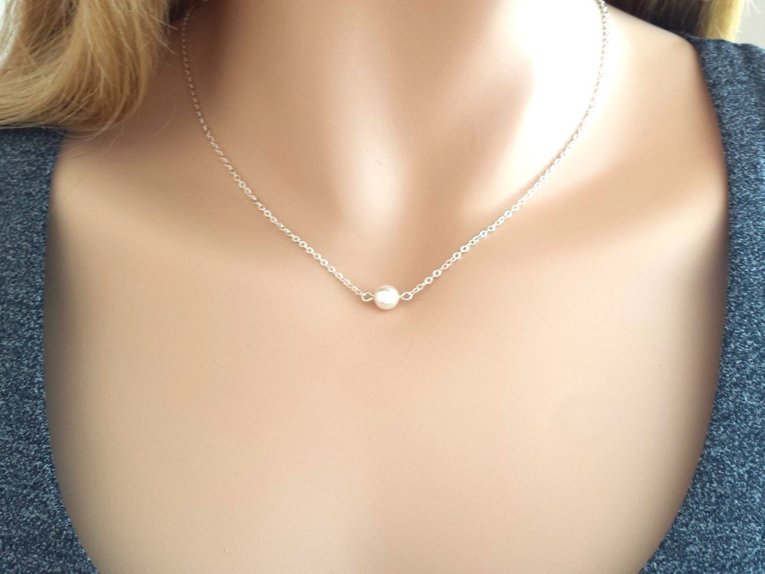 Freshwater Pearl Ball Tiny Sterling Silver Choker Necklace Dainty Everyday Short Simple Jewelry