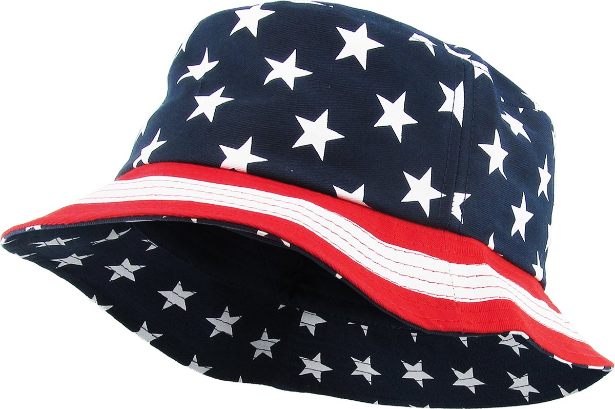 KBM-021 NAV USA American Flag Print Bucket Hat Cotton Summer Boonie by KBETHOS (Image #1)