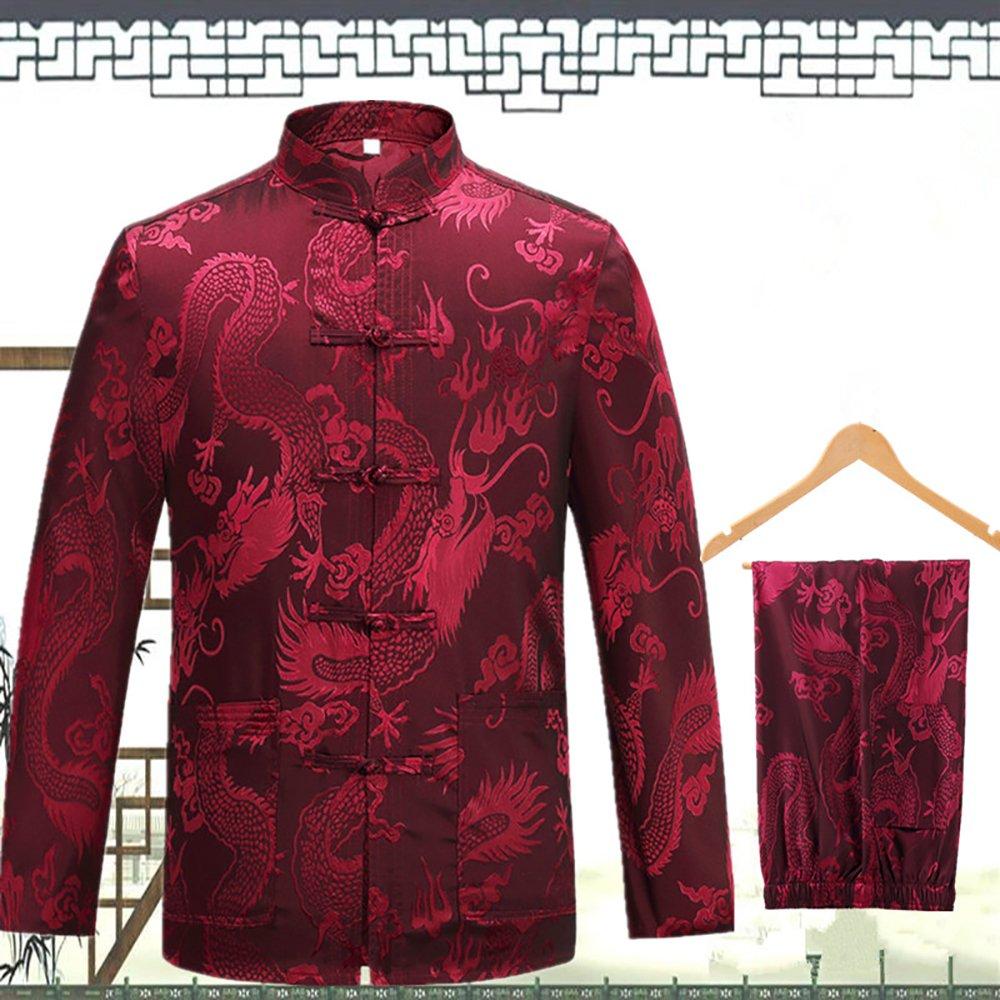 KIKIGOAL Mens Martial Arts Kung Fu Uniform Long Sleeve Tang Suit With Dargon Pattern (XXXL, red) by KIKIGOAL (Image #2)