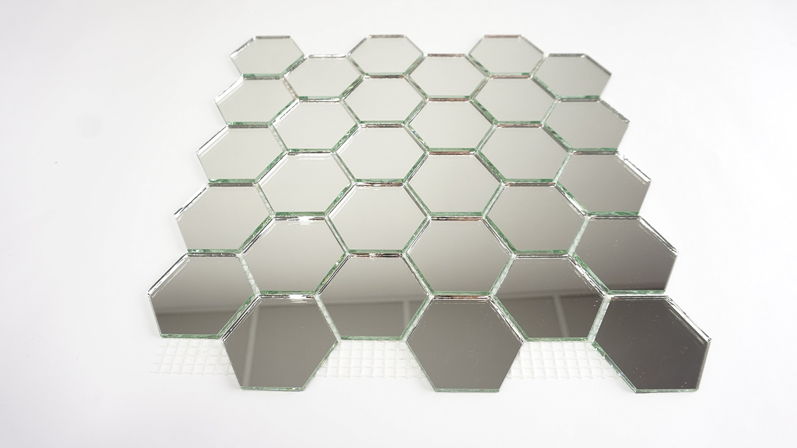 Aleksander Hreben ,Backsplash, Hexagonal Mirror Mosaic Tiles on mesh 12''x12'' - 9 Sheets