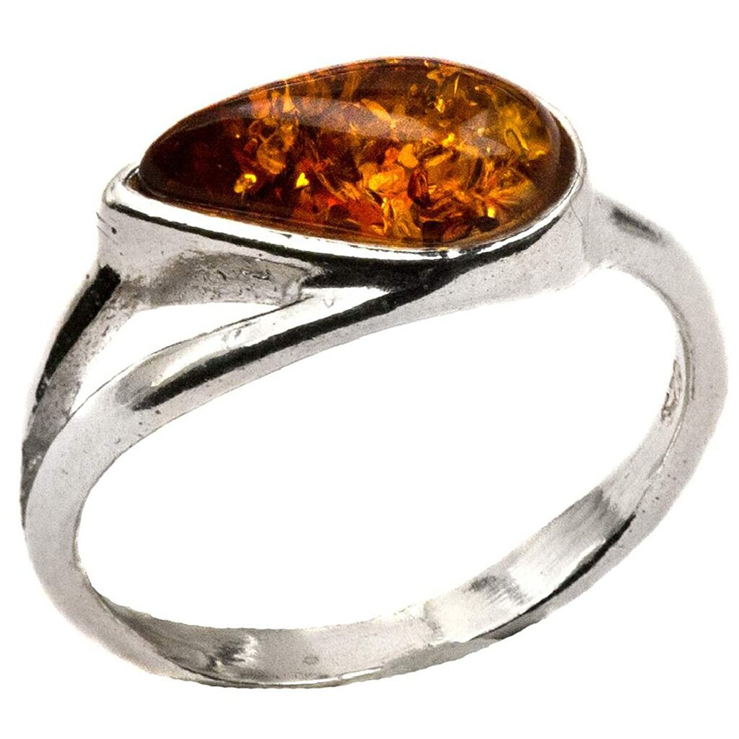 Sterling Silver Amber Frozen Drop Ring