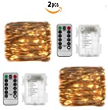 2 Set 33ft 100 Led Fairy Lights, Battery Operated Waterproof Copper Wire Lights with Remote,8 Mode Decorative Light for Home Bedroom Christmas Centerpiece Party Wedding Birthday(Warm White)