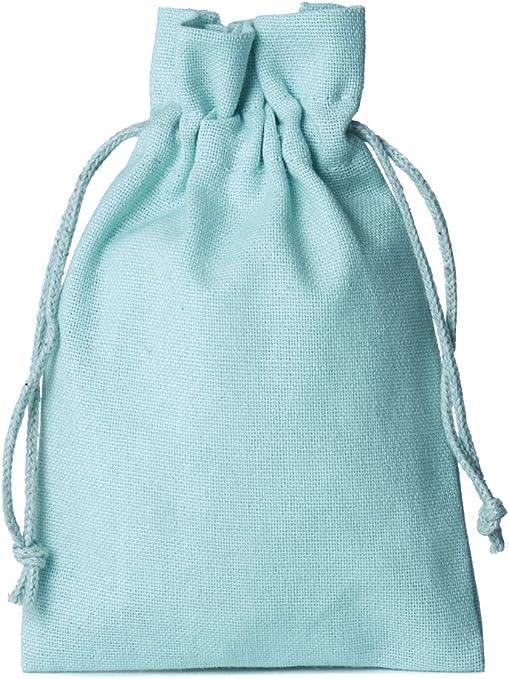 12 unidades bolsitas de algodón, bolsas de algodón, tamaño 15 x 10 cm con cordón para cerrar (azul claro): Amazon.es: Juguetes y juegos
