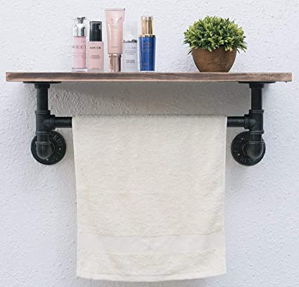 Industrial Pipe Bathroom Shelf,24u0026quot; Rustic Wall Shelf With Towel Bar,Industrial  Shelving