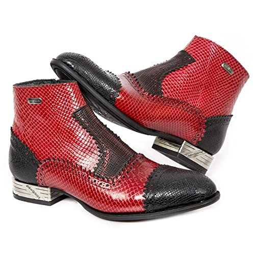 New Rock M.VIP96005-C5 Botas Botines Hombre Caballero Rojo Negro Cuero Piel Tacón Moda Urbano Elegante: Amazon.es: Zapatos y complementos