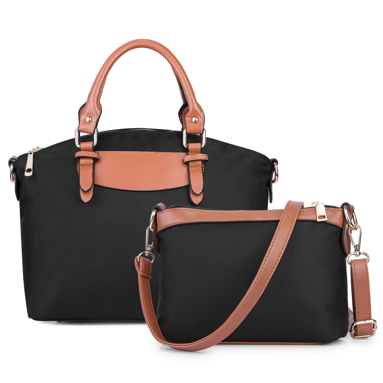 S-ZONE Handbag for Women 2 Pcs Water-resistant Oxford Lightweight Shoulder Bag Crossbody Satchel (Dark Blue)