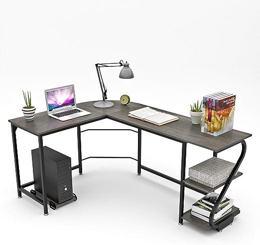 Wood  L-Shaped Corner Computer Desk Home Office Workstation Table with Bookshlef