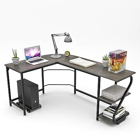 WeeHom Escritorio esquinero grande para ordenador con estantes de ...