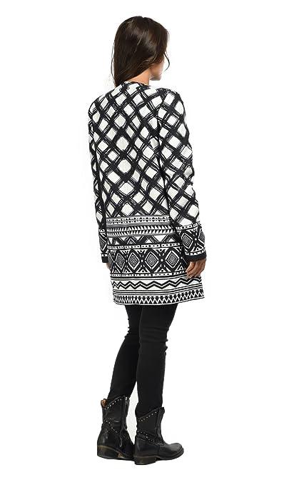 101 IDEES Chaqueta LAURA negro/blanco mujer Colección Otoño/Invierno: Amazon.es: Ropa y accesorios