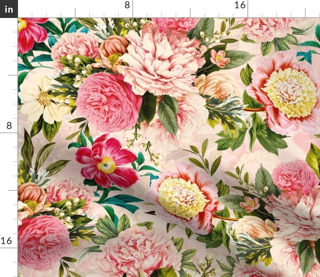 Vintage  Roses Romantic Antique Cotton Sateen Tablecloth by Spoonflower Moody Floral by utart Victorian Botanical Tablecloth