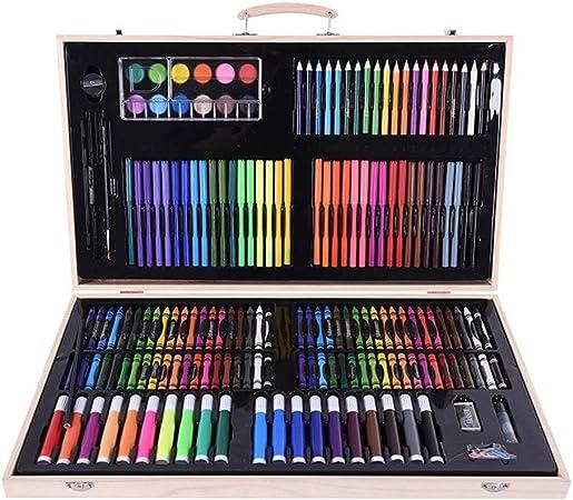 Kanqingqing Caja Colores Niños 180 Caja de Madera para Pintar Juego de Pinceles para niños Papelería Juego de Pintura Herramienta Pincel Crayón Acuarela niños Principiantes y Artistas: Amazon.es: Hogar