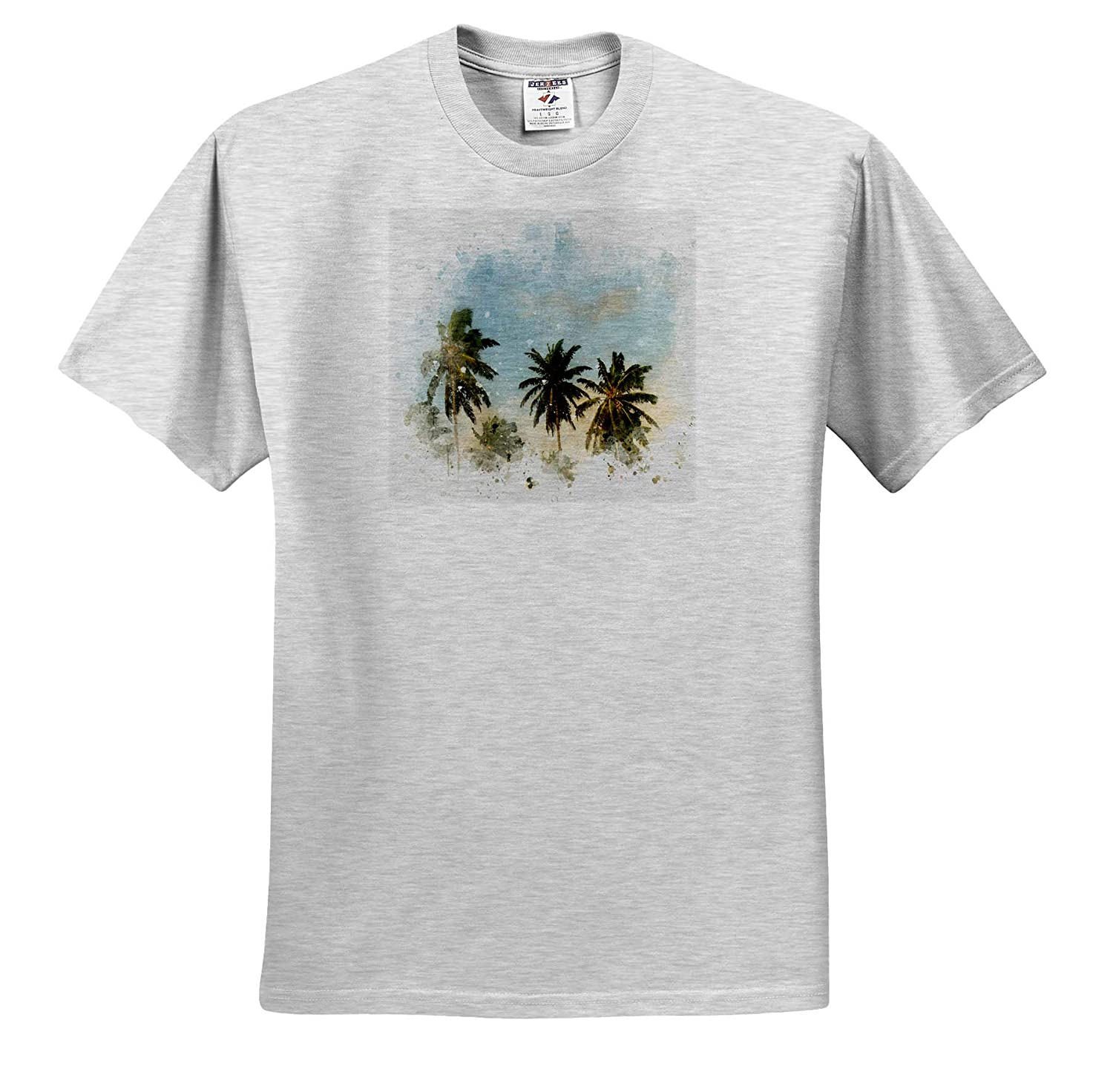 Image of Watercolor Palm Tree Art 3dRose Anne Marie Baugh ts/_318723 Adult T-Shirt XL Impressionist Mixed Media Art