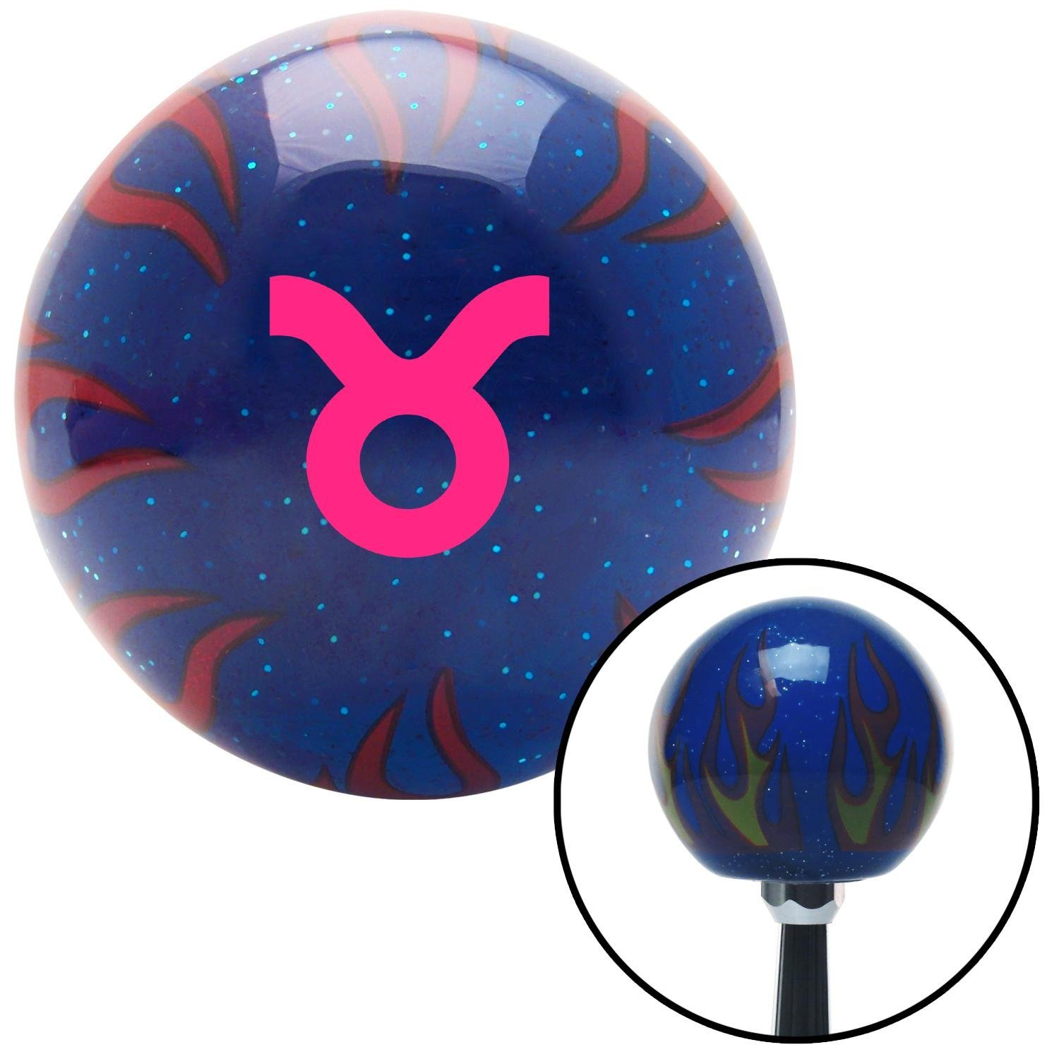 American Shifter 298037 Shift Knob Pink Taurus Blue Flame Metal Flake with M16 x 1.5 Insert