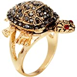 Kesar Zems American Diamond Studded Gold Tortoise Ring For Unisex
