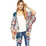 Sunward Chiffon Cardigan, Flower Print Open Front Shawl Kimono Coat Jackets Cover up Blouse Tops