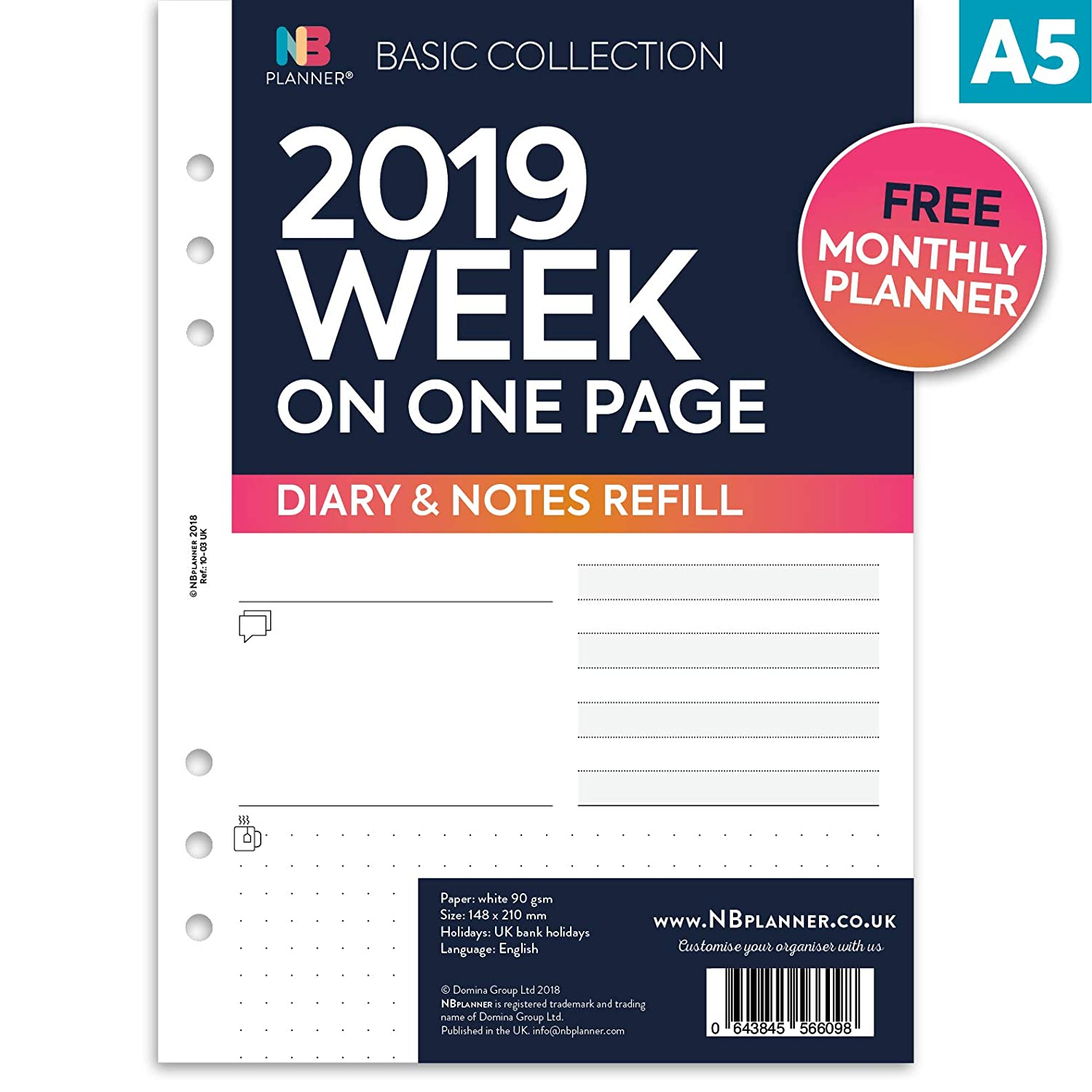 NBplanner® 2019 Week on one Page Diary with Notes Planner Basic Collection English Organiser Refill A5 Size Domina Group Ltd