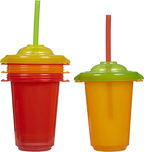 Munchkin 10 onza Pack reutilizable Twist Estrechos vasos con pajita, pack de 4, Neutral: Amazon.es: Bebé