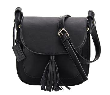 Brandneu 79968 515fa LI&HI Modisch Quaste Stil Umhängetasche Damen Klein Schwarz Handtasche  Tasche Damen Klein Satteltasche - 21x12x6.6 cm (B * H * T)