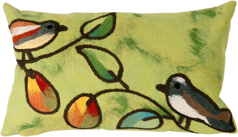 Liora Manne 7s01sa37906 Mystic Iii Tree Birds Green Indoor Outdoor Pillow Garden Outdoor