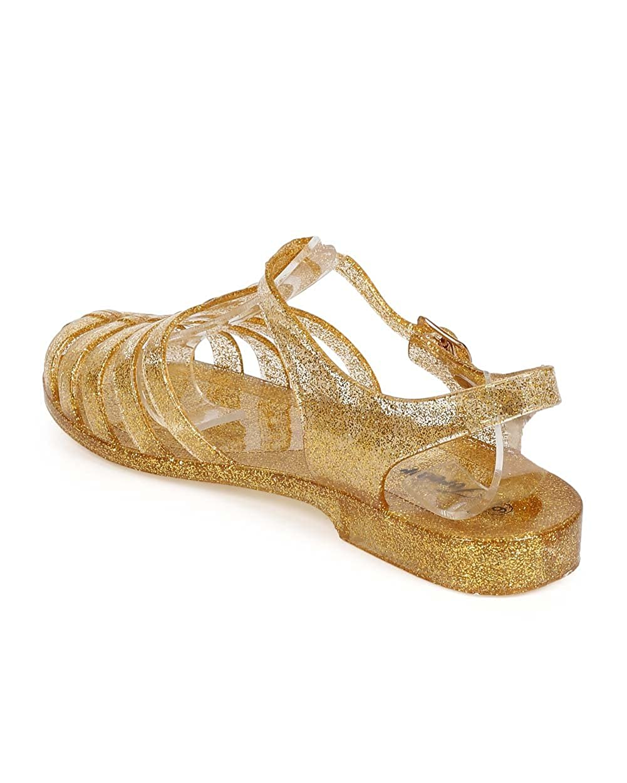 EA67 Toddler//Little Girl//Big Girl Gold Glitter Jelly Classic Fisherman Sandal Flat