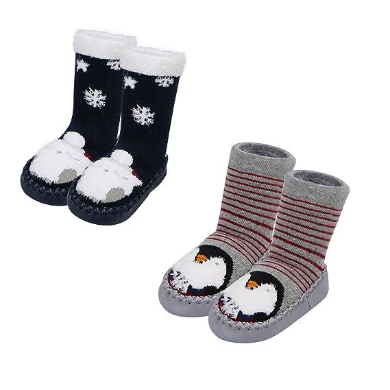 Caudblor - Calcetines antideslizantes para niños pequeños, pantuflas, pantuflas de algodón para animales de entre 10 y 18 meses, bebé y niña: Amazon.es: ...
