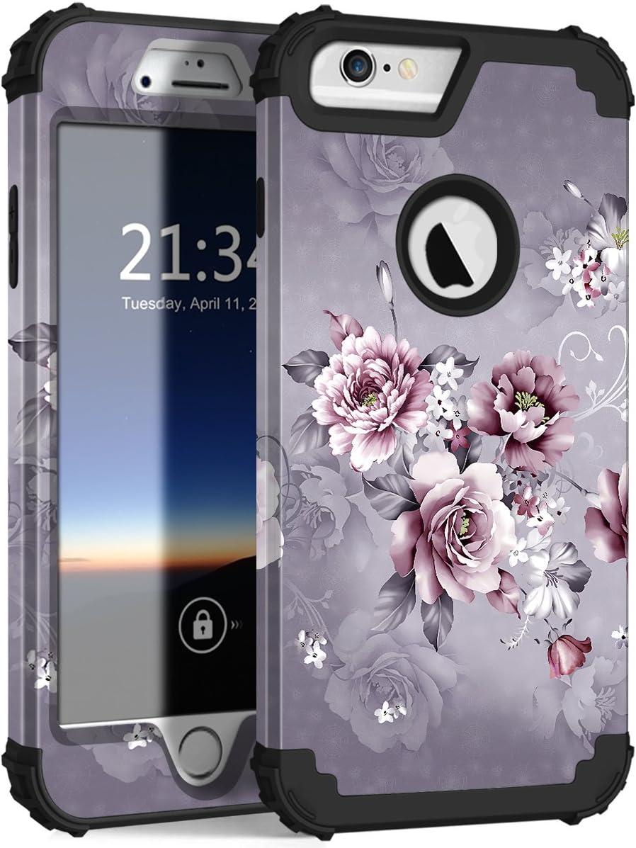 "Hocase iPhone 6s Plus Case, iPhone 6 Plus Case, Heavy Duty Shockproof Protection Hard Plastic+Silicone Rubber Protective Case for iPhone 6 Plus/6s Plus w/ 5.5"" Display - Light Purple Flowers"