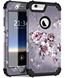 iPhone 6s Plus Case, iPhone 6 Plus Case, Hocase Heavy Duty Shockproof Protection Hard Plastic+Silicone Rubber Protective Case for iPhone 6 Plus/6s Plus 5.5-Inch - Light Purple Flowers