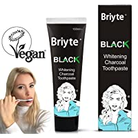 Briyte ® Black Teeth Whitening Charcoal Toothpaste (Natural Vegan Bamboo Tooth Whitener) No Fluoride - White with Briyte UK Crest