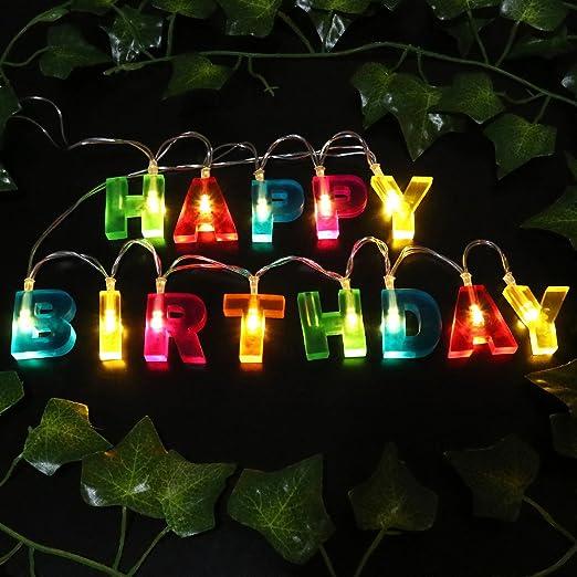 Luces de cumpleaños LEDMOMO, 13 LED, 129,5 cm, con batería ...