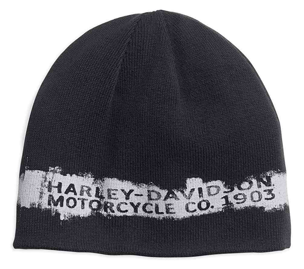 6dd2decbe Harley-Davidson Men's Reversible Textured Stripe Knit Beanie Hat 97683-18VM  Black