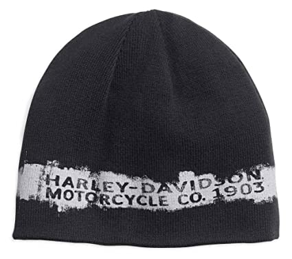 2f57c5b4cbe Image Unavailable. Image not available for. Color  Harley-Davidson Men s  Reversible Textured Stripe Knit Beanie Hat 97683-18VM Black