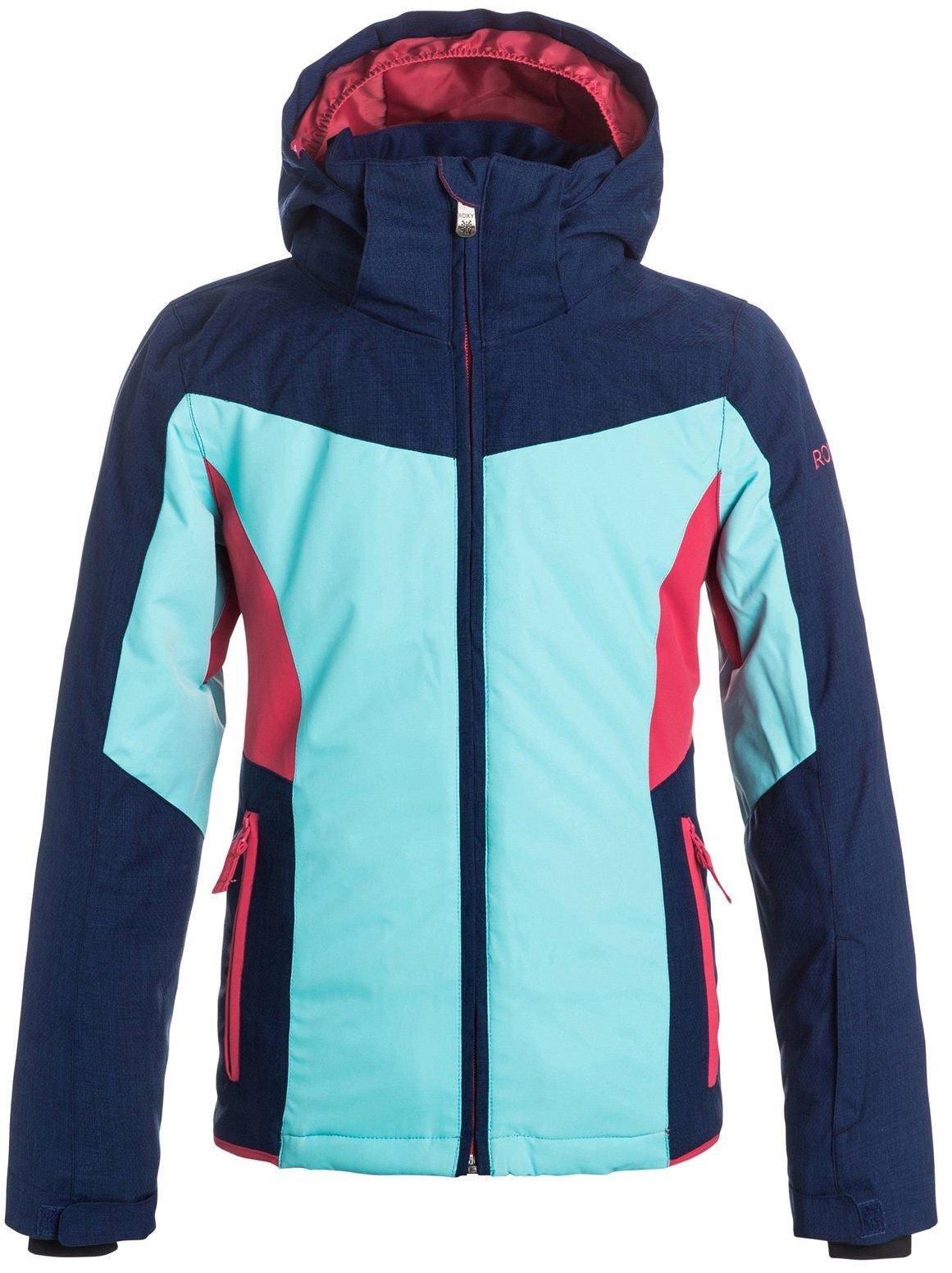 Roxy Big Girls' Sassy Snow Jacket, Blue Print, 8/S