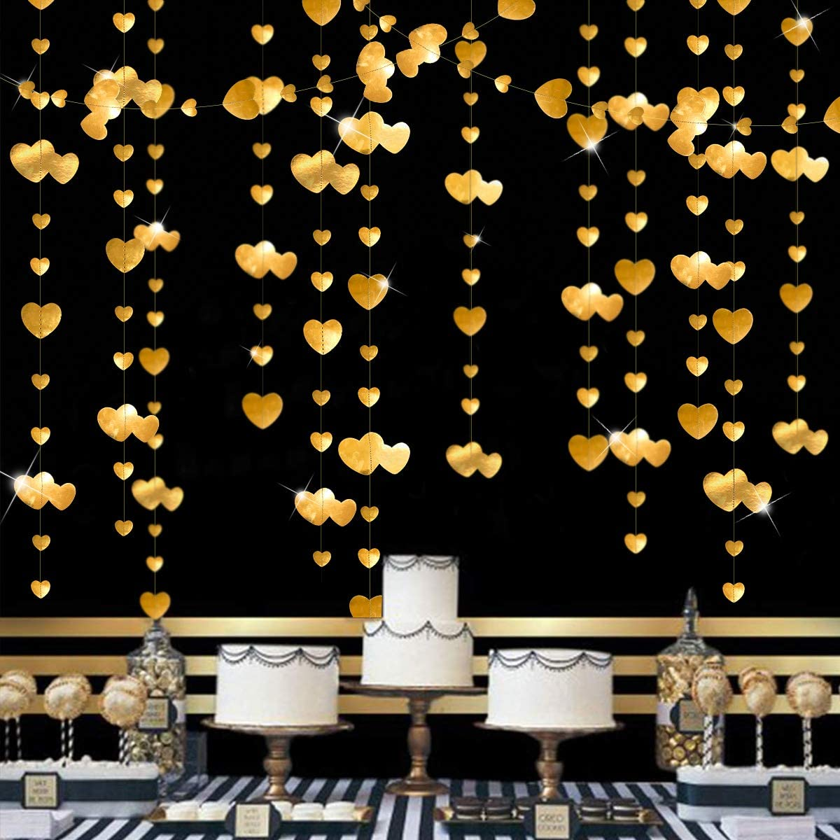 52 Ft Gold Heart Garland Kit Double Sided Metallic Paper Banner Streamer for Engagement Anniversary Bridal Shower Wedding Valentine's Day Bachelorette Party Decorations Supplies(4 Packs)