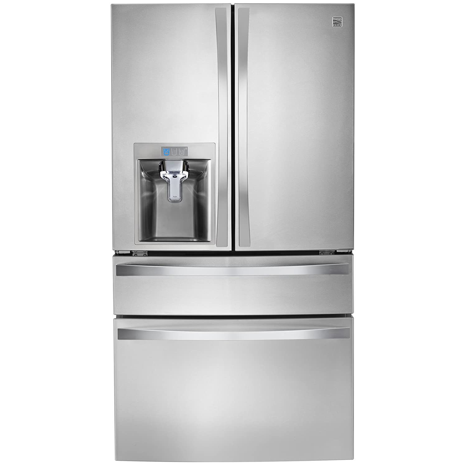 Kenmore Elite 72483 29.9 cu. ft. 4 Door Bottom Freezer Refrigerator with Dispenser in Stainless Steel, includes delivery and hookup