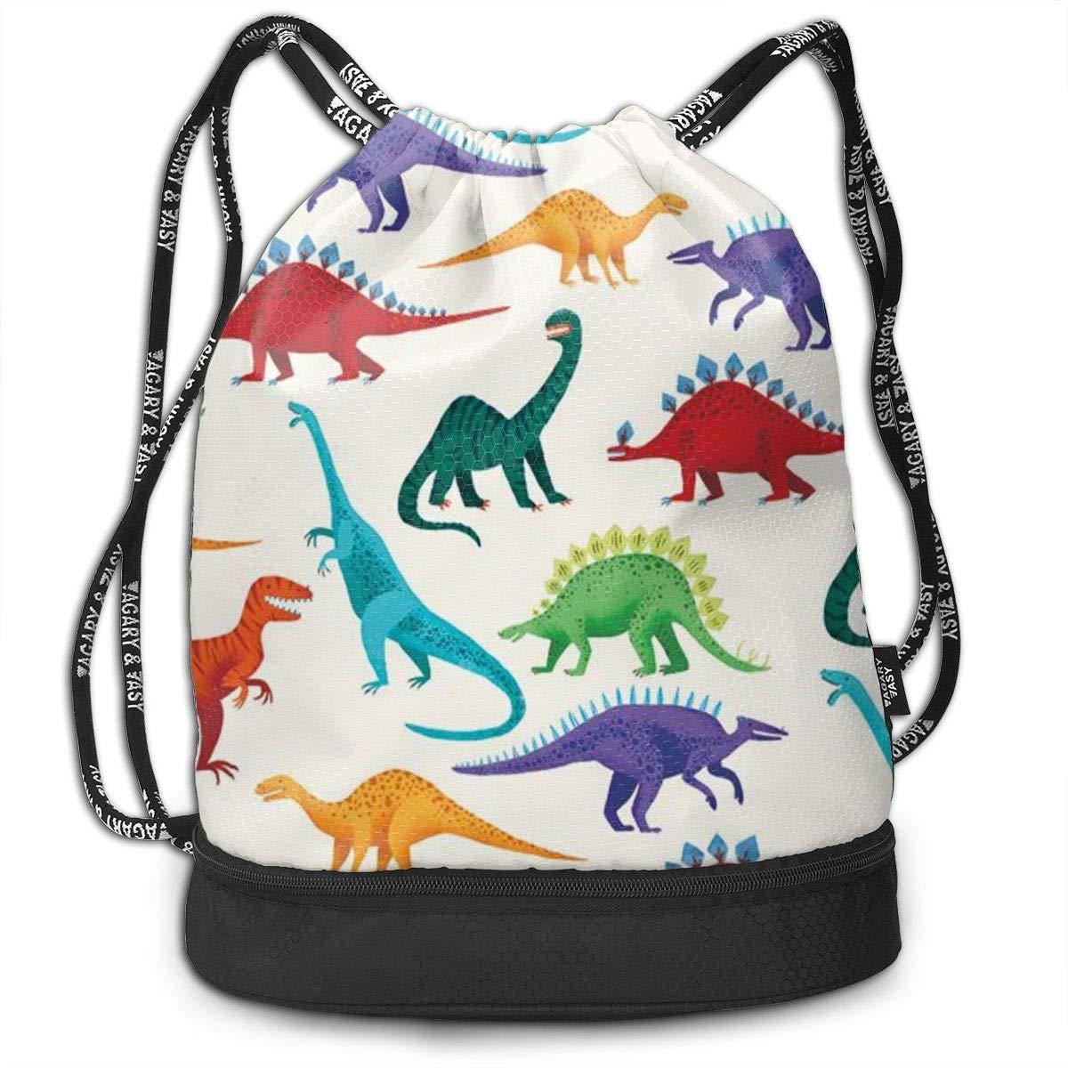 HUOPR5Q Dinosaur Drawstring Backpack Sport Gym Sack Shoulder Bulk Bag Dance Bag for School Travel