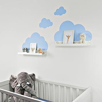 wandtattoo wolken in blau fur ikea regalbrett ribba mosslanda 55 cm bilderleiste fur babyzimmer kinderzimmer