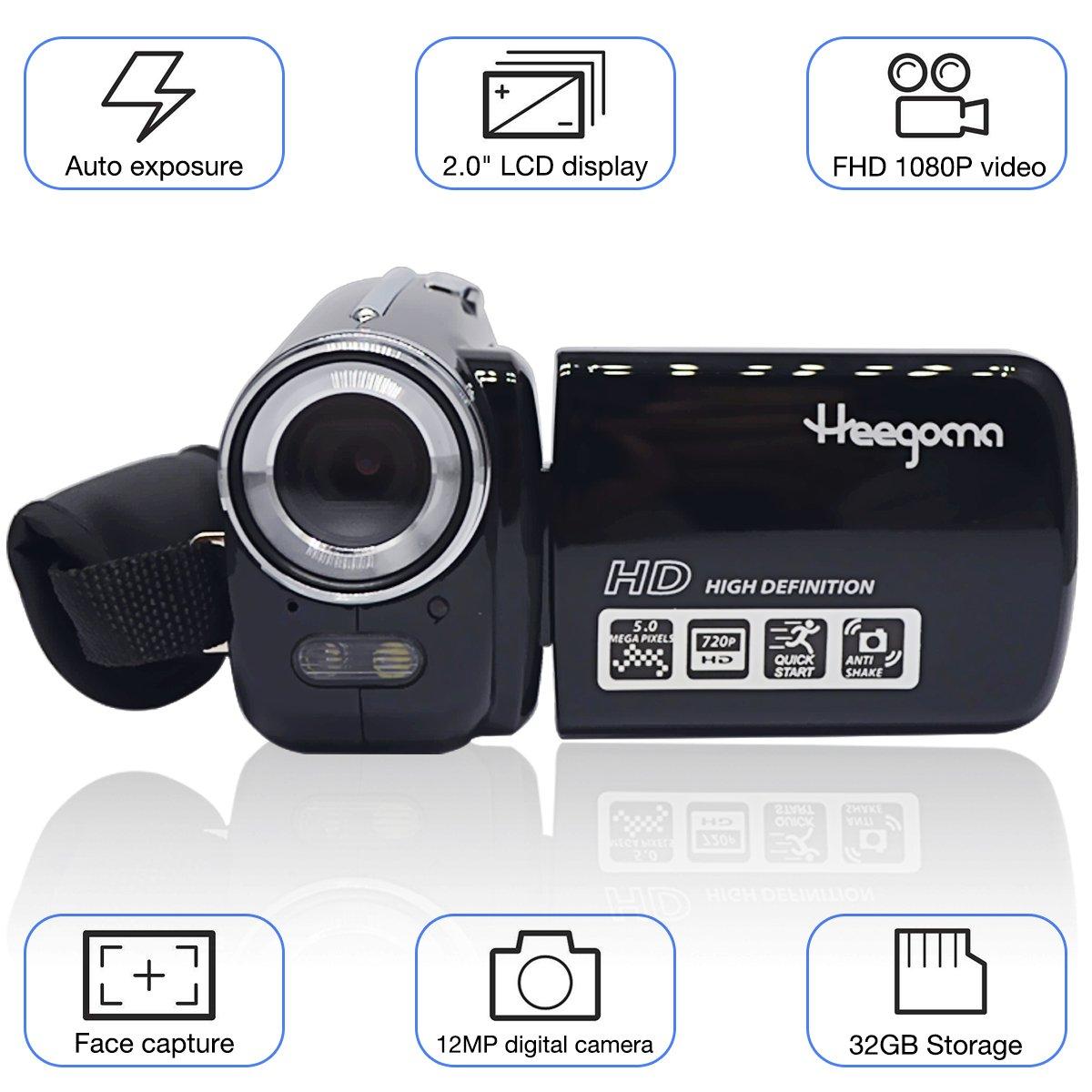 Digital Video Camcorder, Heegomn FHD 1080P 1920x1080 Video Camera 2.0'' LCD 12MP Digital Video Recorder with 270 Degree Rotation Screen, Black
