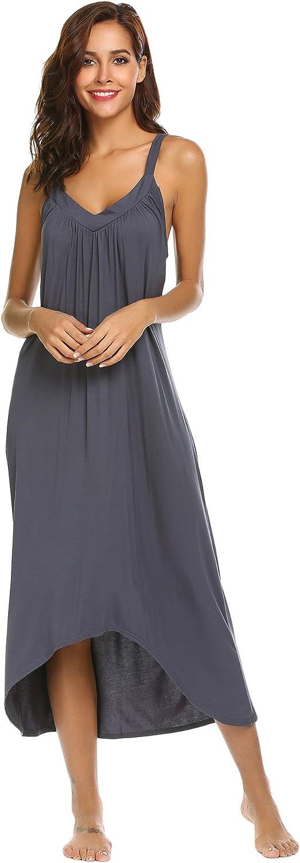 Ekouaer Womens Sleeveless Long Nightgown Summer Slip Night Dress Cotton Sleepshirt Chemise