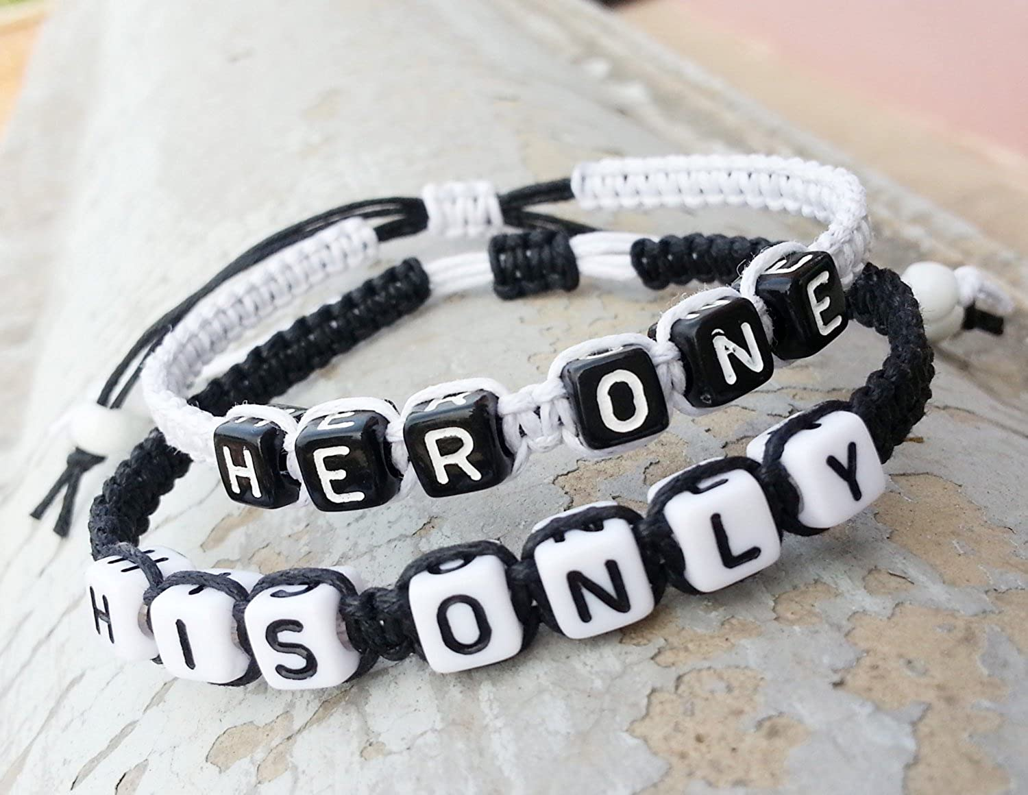 Couple Bracelet His Only Her One Bracelet Boyfriend and Girlfriend Jewelry Hand Weaving White and Black Bracelet Anniversary Gift