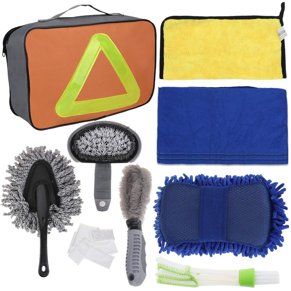 Faburo 9pcs Car Wash Cleaning Tool Kit with Storage Bag and 10pcs Disposable Gloves, Car Tire Wheel Brush | Chenille Wash Sponge | Duster | Microfiber Towel Cloths | Double Head Car Vent Brush Duster