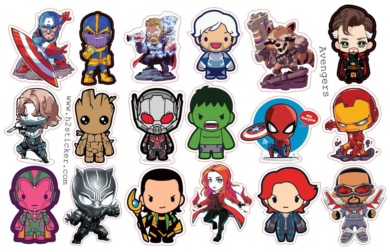 H2 studio decal funny chibi avengers sticker of endgame marvel avengers stickers thanos ironman captain america thor sticker scrapbooking car luggage