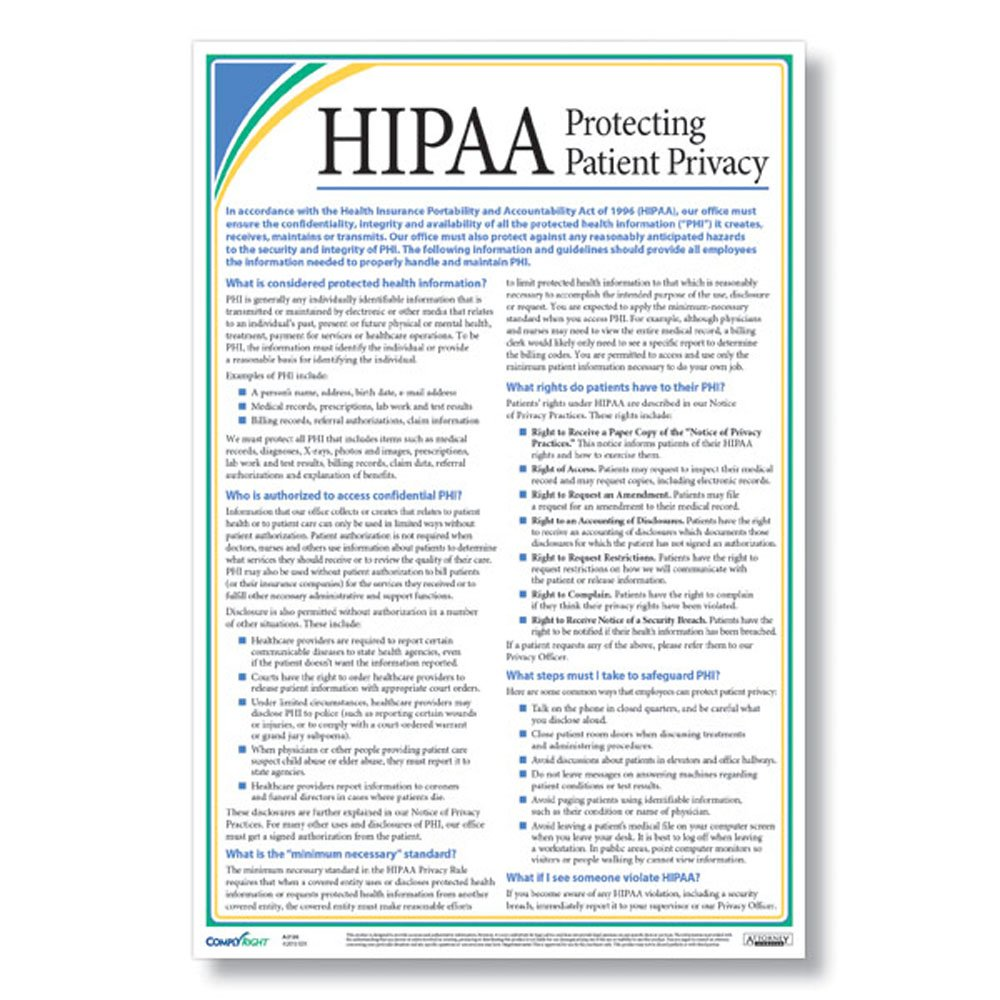 Amazon.com : ComplyRight A2126 HIPAA Privacy Poster : Office Products