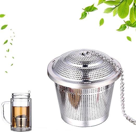 Infusor de té, infusor de té de acero inoxidable, colador de malla con cadena extendida para colgar, filtro de té 2 piezas small S