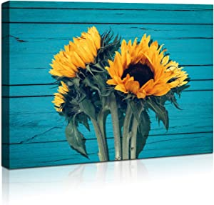 Wall Art Canvas Farmhouse Countrysid Sunflower Wooden Board For Living Room Bathroom Wall Decor Pictures Framed Artwork for Walls Yellow Wooden Board Modern Home Size 12x16 In