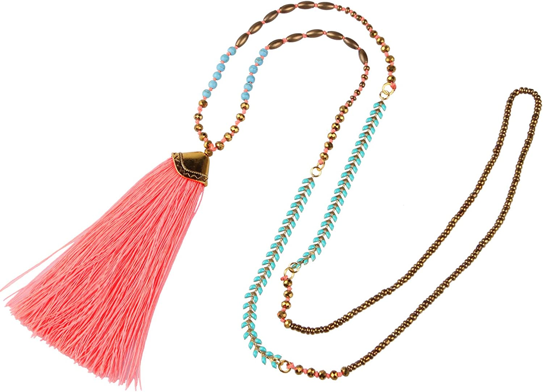 C·QAUN CHI Collar de Cuentas de Cristal Hecho a Mano Collar con Colgante de Borla Multicolor Collar de Hilo de Verano Bohemio Joyería de Moda para Mujer Regalo para Esposa Mejores Amigos Chicas