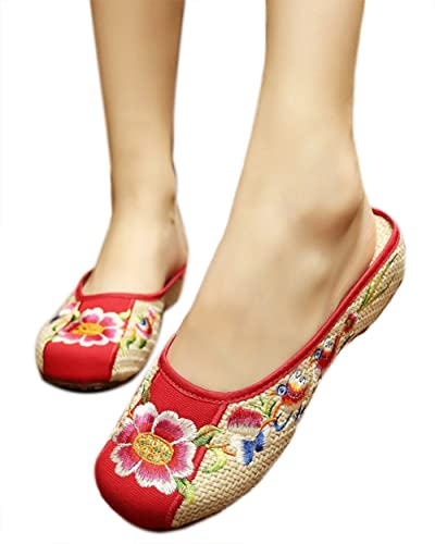 Women's Embroidery Round Closed Toe Weave Oxfords Slippers Sandals