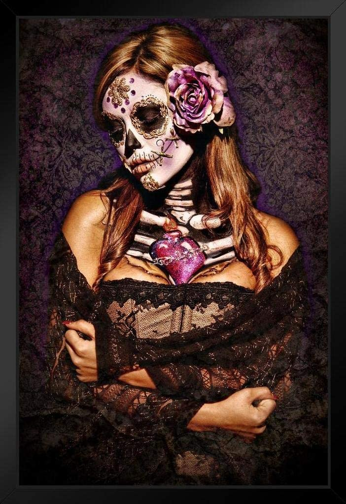 Day of The Dead Lace by Daveed Benito Black Wood Framed Art Poster 14x20